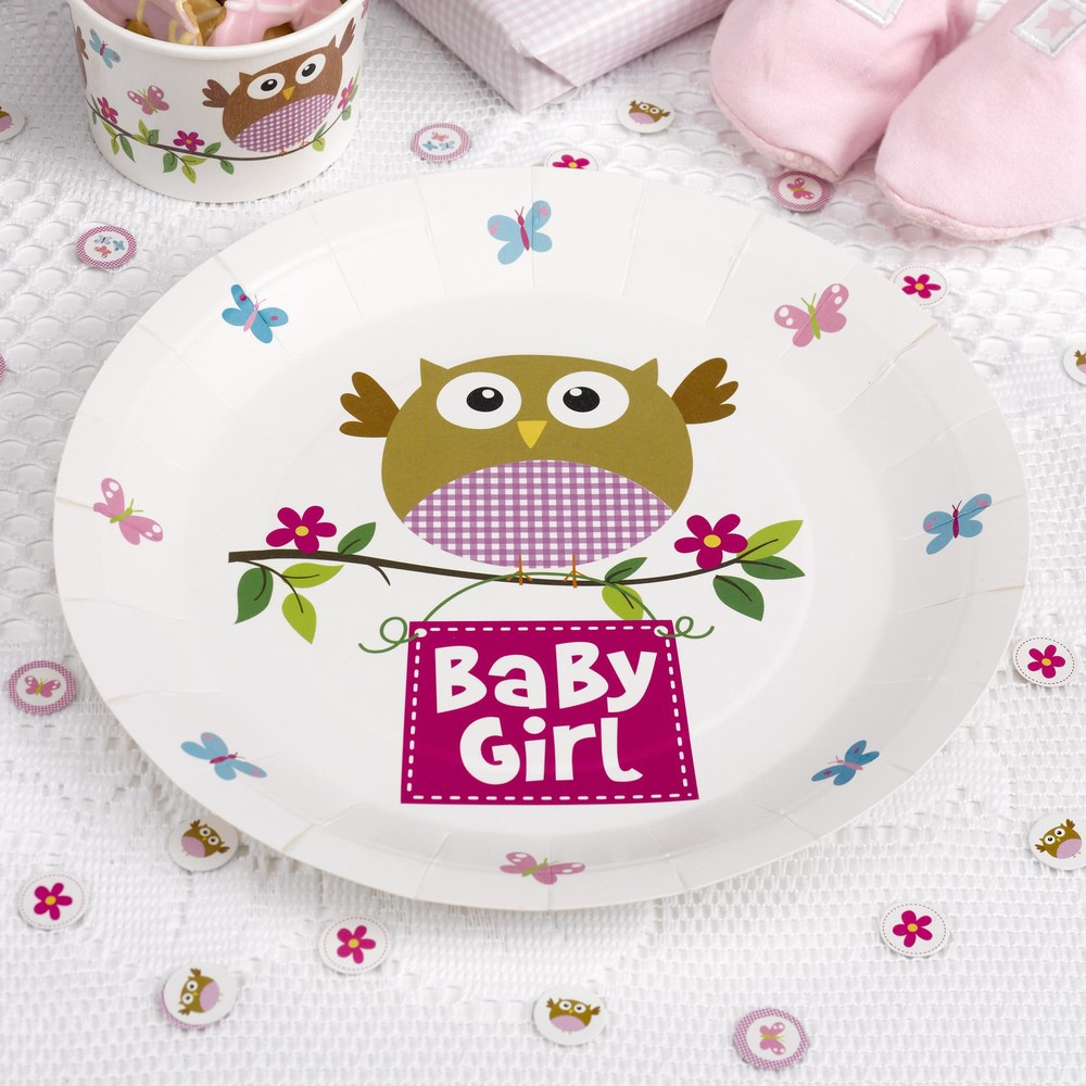 Babyparty kleine eule baby girl pappteller 8 st ck taufe for Baby shower party deko